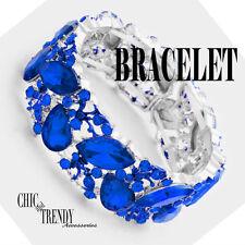 HIGH END ROYAL BLUE GLASS CRYSTAL BRACELET PROM FORMAL WEDDING JEWELRY TRENDY