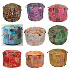 Patchwork Round 18'' Indian Ottoman Pouf Cover Vintage Moroccan Footstool Pouffe