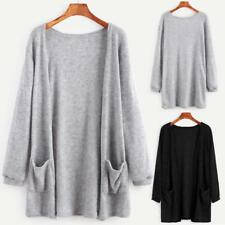 Women Long Sleeve Oversized Loose Knitted Sweater Jumper Cardigan Coat Cotton