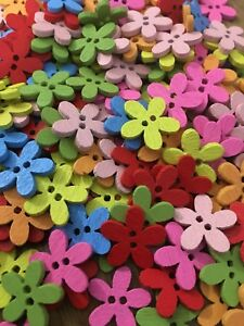 Wooden Flower Buttons 15mm Various Colours Pack Of 200pcs