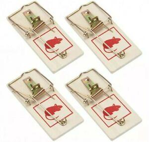 4 X Mouse Traps Mice Traps Rodent Trap - Reusable, Wooden & Durable Catchers UK