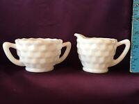 Vintage Depression Jeanette Glass Cube Pattern White Creamer & Open Sugar Bowl
