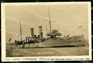 cWW1 protected Cruiser HMS Apollo - broken up 1920   - Real photo Postcard