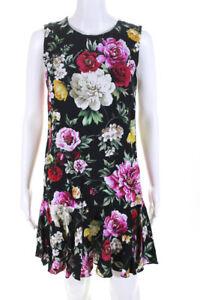 Dolce & Gabbana Womens Sleeveless Floral Print Shift Dress Black Pink Size 4