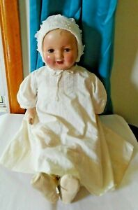 """Lovely 26"""" Large Composition Antique Mama Doll Tin Eye Top Teeth"""
