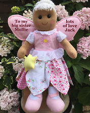 """PERSONALISED FAIRY RAG DOLL NEW BABY BIG / LITTLE SISTER BIRTHDAY 16"""" GIFT XXXXX"""