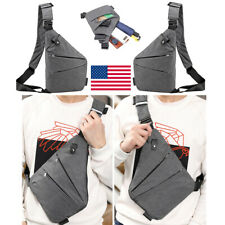 Sling Canvas Chest Pack Crossbody Anti Theft Shoulder Mens Bag Business Travel F