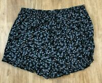 XHILARATION Ruffle Pull On SHORTS - Womens Size XXL - Blue Floral Ruffle Pockets