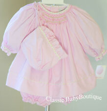 NWT Petit Ami Pink Gingham Smocked LS Bishop 3pc Dress Preemie Baby Girls Bonnet