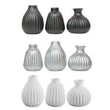 Cordelia Bud Vase Trio Contemporary Porcelain Pleated Design Vases
