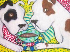 American Bulldog Drinking Coffee Dog Outsider Vintage Art 8 x 10 Signed Print