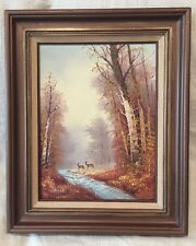 Canvas Oil Painting With Deers And Forest, Signed Gorman