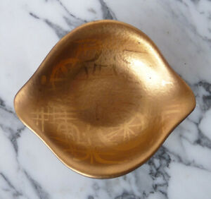 SASCHA BRASTOFF modernist GOLD LEAF art pottery BIOMORPHIC BOWL mid-century NR
