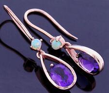 E062- Genuine 9K 9ct Solid Rose Gold Natural Amethyst & Opal Drop Earrings