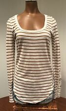 Free People Brown and White L/S Striped Top W/ Lace Sleeves Sz S