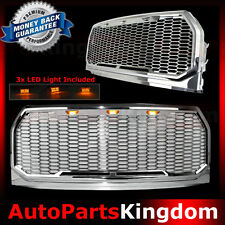 15-17 Ford F150 Raptor Style Chrome Package Mesh Grille+Shell+Amber 3x LED light