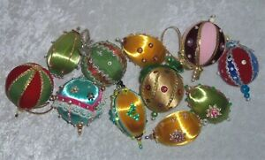 VTG Beaded Satin Ornaments Pin Christmas Tree Sequin Tassel Handmade 11