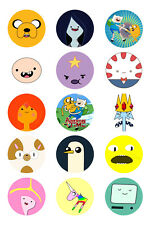 15 x Adventure Time Bottle Cap Logo Images for Necklaces, Magnets