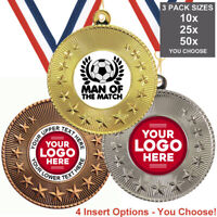 FOOTBALL MAN OF THE  MATCH METAL MEDALS 50mm, PACK OF 10 RIBBONS INSERTS LOGO