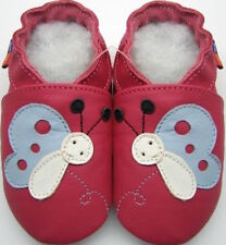 Minishoezoo 3-4y blossom fuchsia new soft sole leather Toddlers shoes slippers