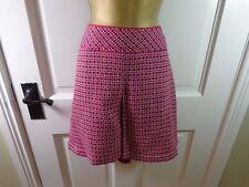 Monsoon Pink Red Patterned Wool Blend Lined Short Skirt, UK 16 18, BNWOT REDUCED