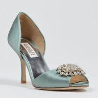 NIB Badgley Mischka LACIE D'orsay open toe pump heel sandals shoes SEAFOAM 5,5US