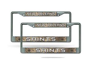 New Orleans Saints Chrome Metal (2) License Plate Frame Set