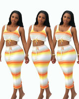 Women Colorful Stripes Scoop Neck Sleeves Crop Top Bodycon Club Long Dress 2pc