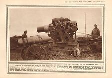 1915 WWI PRINT ~ AUSTRIAN GIANT SIEGE-HOWITZER & SHELL HIGH EXPLOSIVES