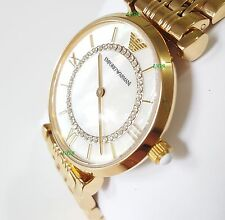 BRAND*NEW*EMPORIO ARMANI WOMEN'S Classic AR1907 Crystal GOLD WATCH Luxury PEARL