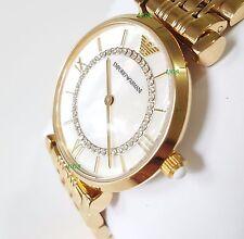 EMPORIO ARMANI WOMENS Classic AR1907 Crystal GOLD WATCH Luxury PEARL 2YR