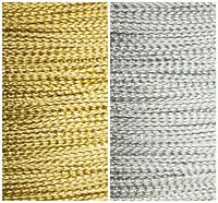 1mm Cord Ribbon. Metallic Silver Gold Wire Effect Braid Christmas Crafts