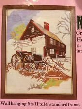 Vintage General Crafts Corp. Farm Scene Needlepoint Kit Carriage Farm House