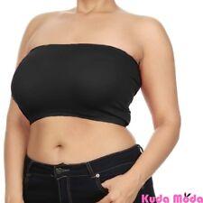 Women Seamless Bandeau Bra Tube Top Plus Size XL 1X 2X 3X 4X No Pad Wire Free