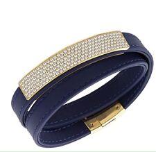 Swarovski Vio Navy Leather Pave Crystals Wrap Magnetic Clasp Bracelet 5120642