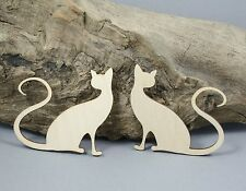 Pair of Cats CAT Craft Embellishment MDF Laser Cut Wooden Shape Long Tails