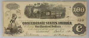 PMG VF 25 NET Confederate States of America $100 Note 1862-63