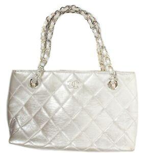 Chanel - Rare Micro Mini Tote CC Shoulder Bag Metallic Silver Leather Vintage