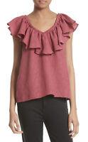 NWT Womens Rebecca Taylor Ruffle Off the Shoulder Silk Blend Blouse Top Sz 6