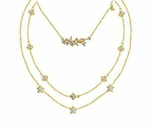 925 Sterling Silver Chain Necklace Yellow Gold Plated 3 Layer White Round Cz-Cls