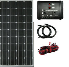 100W Kit De Panel Solar Monocristalino Para Barco Caravana Autocaravana 12v 10A Dual