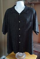 Andrew Fezza New York Mens Short Sleeve Casual Dress Shirt BLACK WHITE XL