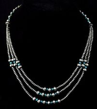Native American Navajo Indian Jewelry SS 3 Strand Multi Navajo Pearls Necklace