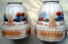 TWO HAND PAINTED DECORATED GLASS LAMP SHADES Scenic Art Deco Fixture Globes
