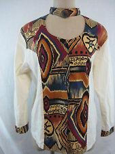 Vintage 80s Tribal Blouse Shirt Size L Ozark Mountain Jean Co Costume