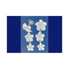 SILVER 925 HAWAIIAN 3 PLUMERIA DANGLING EARRINGS CZ