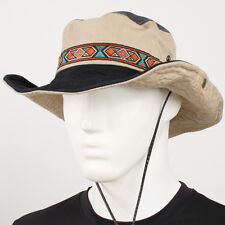 Black Brim Outdoor Sun Visor Safari Western Cowboy Cotton Hat Jungle Cap Wide Nw