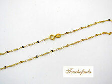 """14K solid yellow gold 18 """" pretty sparkling lace and link necklace Italy."""