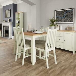 White Painted Two Tone Fixed Top Table Wooden Frame Rounded Corners Oak Top
