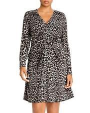 MSRP $115 Michael Kors Plus Leopard Ruched Dress Gray Size 2X